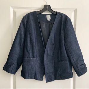 Halogen Blue Denim Blazer Jacket Size 16